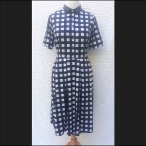 NWT fit & flare black and navy gingham dress